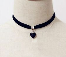 Vintage Black Velvet Choker Crystal Heart Pendant Gothic Handmade Punk Necklace