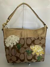 Coach Signature STP Floral Applique Khaki Tote Handbag Limited Edition 12200