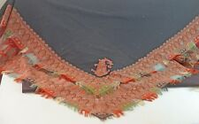 GORGEOUS ANTIQUE BLACK WOOL SHAWL w/ PAISLEY EDGING 19th CENTURY TT644