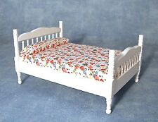 White Double Bed, Dolls House Bedroom Furniture, 1.12 Scale
