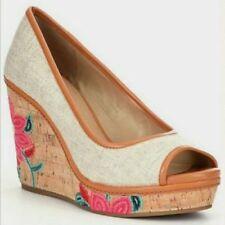 New! Antonio Melani Size 7.5 ALLIS Floral Brown Fabric Wedge Heels Womens Shoes