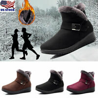 Womens Winter Warm Zipper Snow Boots Fur Lined Buckle Ankle Boots Shoes Size USA