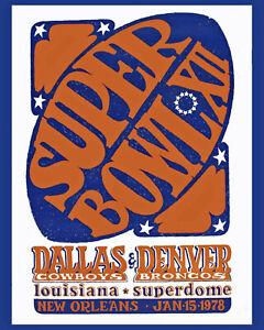 Super Bowl XII Poster  (1978 - Cowboy vs Broncos) -  8x10 Photo