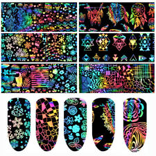8 un. Set para Arte de uñas lámina holográfica Plata Navidad Unicornio Flor Papel de transferencia