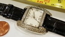 Louis Arden Quartz Rectangle watch Black band white Dial Crystals Girls Woman #2