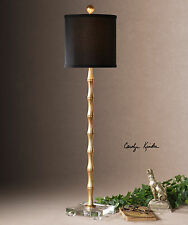 """QUINDICI AGED GOLD METAL BAMBOO STYLE 37"""" TABLE BUFFET LAMP CRYSTAL ACCENT"""