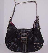 Tommy Hilfiger Womens Black Purse Handbag Shoulder Bag Hobo Contrast Stitching