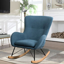 Linen Seat Rocking Chair Relaxing Armchair Lounge Sofa Soft Recliner Club Chairs
