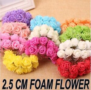 36/144pcs Artificial Flowers Foam Rose Fake 2.5CM Flower With Stem Wedding Party