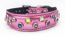 """Metallic Pink Dog Collar With Jewels Fits Neck Size 11""""-12.25"""", M3-PINK"""