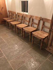 6 Solid Pine Matching Farmhouse Dining Chairs Carved Flower Detail Turned Legs