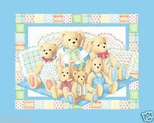 PILLOW BEAN BEARS BABY Quilt Top Wallhanging NURSERY Fabric  BABY BEARS NEW