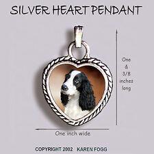 English Springer Spaniel Dog Black White - Ornate Heart Pendant Tibetan Silver