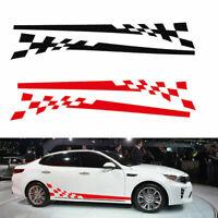 2x Car Body Side Graphics Chequered Flag Stripes Vinyl Decals Sticker DIY Black