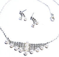 Created Pearl Necklace Choker Earring Set Rhinestone