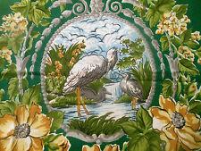 Vintage Heron Crane Bird Floral Scroll Furnishings Fabric ~ Dk. Green Gold Gray