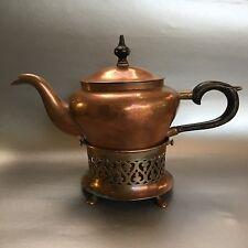 Antique Hand hammered Copper Tea Pot Teapot & Stand Kettle Solid Vintage Wood