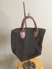 463e56a3c97d Annie selke Small Woven Tote. Brown. Black. Leather