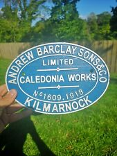 More details for andrew barclay - heavy cast iron sign plaque- caledonia, railway, hornby, lner,