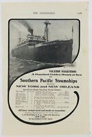 1909 Southern Pacific Steamships New York Ship Nice 1900's Advertising Print Ad
