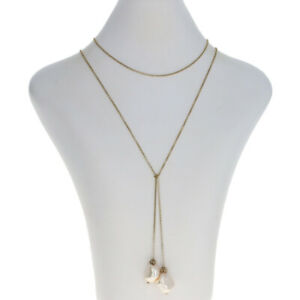 """Sterling Silver Baroque Pearl Lariat Tie Necklace 39 1/4"""" - 925 Gold Plated Rolo"""