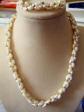 FRESHWATER RICE PEARL & GOLD BEAD NECKLACE AND BRACELET SET