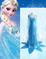 Ladies Women Frozen Princess Elsa Fancy Dress Costumes Gown 6/8 10/12 12/14
