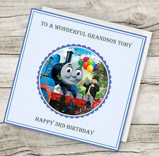 Personalised Handmade Thomas the Tank Birthday Card - Son, brother etc any text