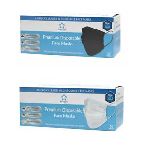 100pcs Litepak White & Black Disposable 3 Ply Face Mask Premium Mouth Cover