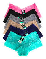 Pack Lot 6 or 12 Women Boxer Cheeky Lace Boyshorts Panty Underwear S M L XL