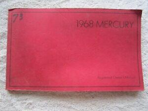 ORIGINAL 1968 MERCURY MONTEREY MARQUIS MONTCLAIR PARK LANE OWNERS MANUAL
