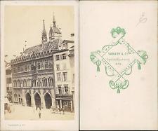 Varady, Suisse, Bâle, Place du marché Vintage CDV albumen carte de visite,