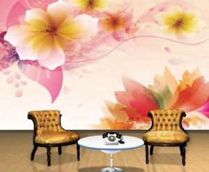 3D Pink Flowers ZHUA3856 Wallpaper Wall Murals Removable Self-adhesive Zoe