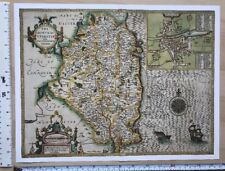 "Old Antique Tudor map Leinster Ireland Inc Dublin: Speed 1600's 15"" x 11 Reprint"