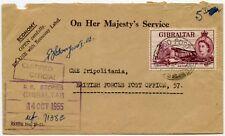 GIBRALTAR to TRIPOLITANIA BFPO 57 OFFICIAL OHMS 1955 R E STORES