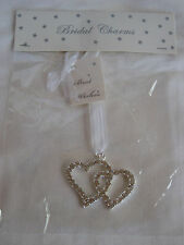 Wedding Bridal Good Luck Charm Double Linked Heart Diamante Silver Keepsake