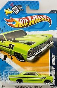 2012 Hot Wheels Green 1966 Chevy Nova Muscle Mania-GM Series 6/10 Card # 106/247