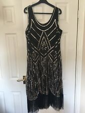 Dress gatsby flapper 1920s size beaded vintage 8 fringe sequin  size 18 by Roman
