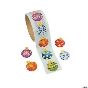 1 roll ~ Christmas Ornament  Stickers ~ 100 count ~ Party favors ~ 1 1/2 Inch