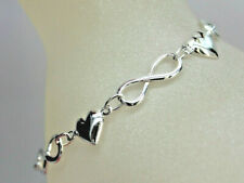 925 sterling silver heart infinity bracelet free gift box WJS57