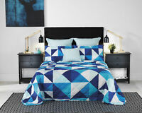 Bianca Cruze Blue Quilted Bedspread Set in All Sizes
