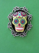 Unisex Goth /Day of the Dead Yellow Sugar Skull Cameo A.SP Brooch Pin Tie Tack