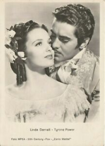 Linda Darnell Tyrone Power Zorro Film Original 1940s Real Photo Glossy Postcard