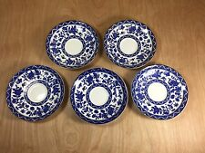 5 Royal Doulton Saucers Made in England Blue/White Flowers Floral w Butterflies