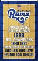 Los Angeles Rams NFL Super Bowl Championship Flag 3x5 ft Sports Banner Man-Cave