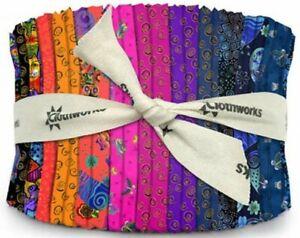 """Clothworks Laurel Burch Feline Frolic Jelly Roll 40 Strips (2.5"""" x 43""""/44"""" ea)"""