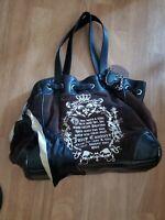 Juicy Couture Velour & Genuine Leather Shoulder Purse M/L shoulder hobo bag nice