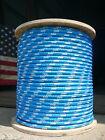 "NovaTech XLE Halyard Sheet Line, Dacron Sailboat Rope 7/16"" x 50' Blue/White"