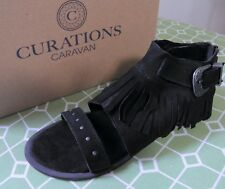 DIEGO DI LUCCA CURATIONS Hero 2 Black Suede Fringe Sandal Size 5 M