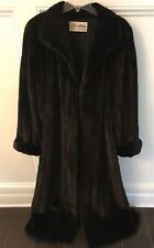 Genuine REVILLON Natural Ranch Mink Full Length Coat; Self Tie Belt; Small (4-8)